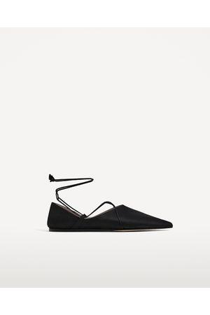 sapatos rasos senhora com fita de cetim