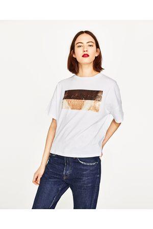 Senhora T-shirts & Manga Curta - Zara T-SHIRT LANTEJOULAS - Disponível em mais cores