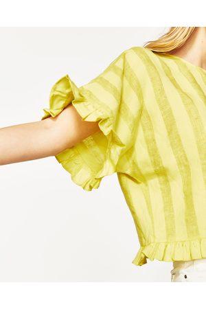 Senhora Blusas - Zara BLUSA LINHO FOLHOS - Disponível em mais cores