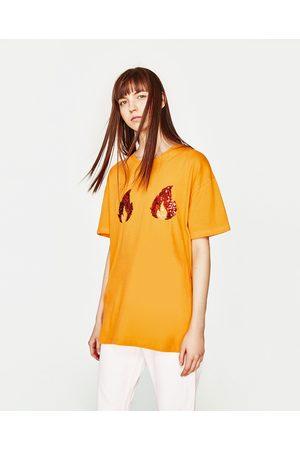 Senhora T-shirts & Manga Curta - Zara T-SHIRT CHAMAS LANTEJOULAS