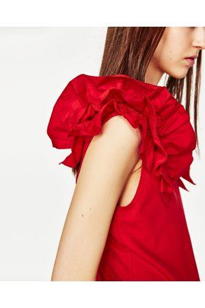 Senhora T-shirts & Manga Curta - Zara T-SHIRT FOLHOS DE POPELINA - Disponível em mais cores