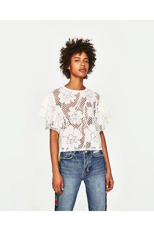 Senhora T-shirts & Manga Curta - Zara T-SHIRT FOLHOS