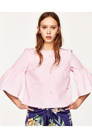 ZARA PINK TOP WITH PEARL BUTTONS | Blusa con perlas, Blusas