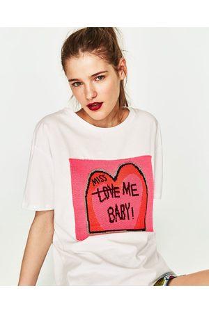 Senhora T-shirts & Manga Curta - Zara T-SHIRT REMENDO MALHA