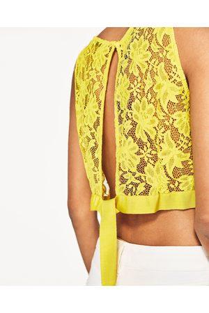 Senhora Tops de Cavas - Zara TOP CROPPED LAÇO NAS COSTAS - Disponível em mais cores