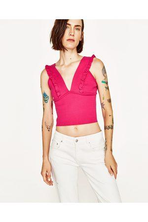 Senhora Tops de Cavas - Zara TOP DECOTE EM V FOLHO - Disponível em mais cores