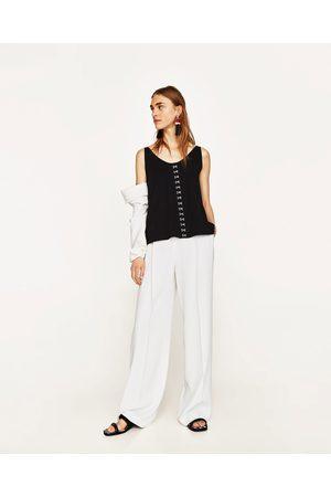 Senhora T-shirts & Manga Curta - Zara T-SHIRT ALÇAS COLCHETES - Disponível em mais cores