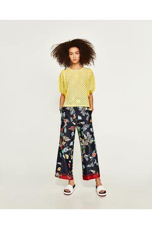 Zara T-SHIRT COMBINADA BORDADOS - Disponível em mais cores