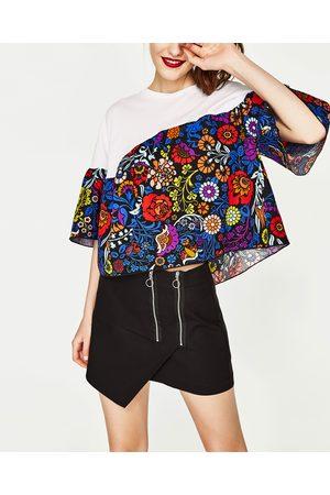 Senhora T-shirts & Manga Curta - Zara T-SHIRT ESTAMPADA COMBINADA