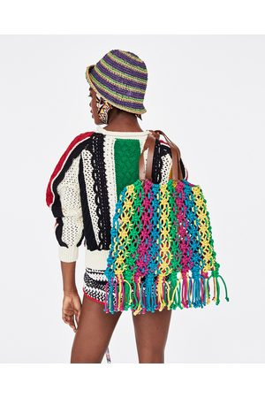 Zara SHOULDER BAG COM ENTRANÇADO MULTICOLORIDO