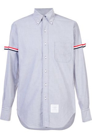 Thom Browne Long Sleeve Shirt With Grosgrain Armbands In Navy Oxford