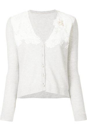 Onefifteen Floral lace patch V-neck cardigan
