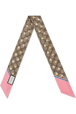 Gucci GG bees silk neck bow