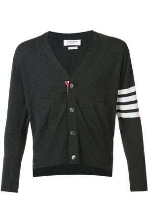 Thom Browne Classic Short V-Neck Cardigan With White 4-Bar Stripe In Cashmere