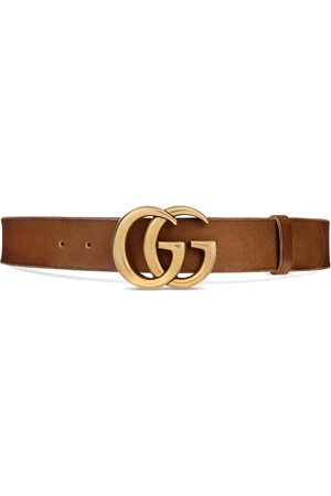 Gucci Senhora Cintos - Leather belt with Double G buckle