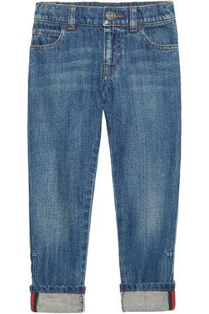 Gucci Web detail straight leg jeans