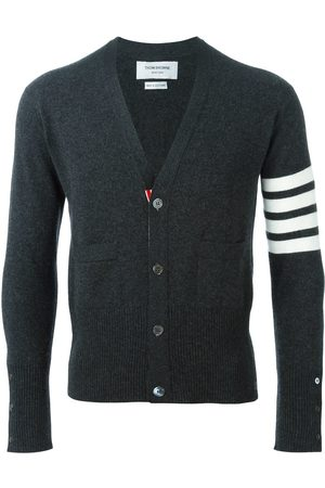Thom Browne V-Neck Cardigan With 4-Bar Stripe In Dark Cashmere