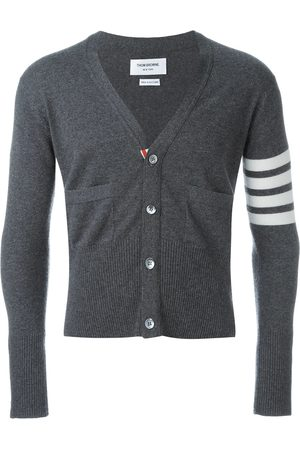 Thom Browne V-Neck Cardigan With 4-Bar Stripe In Medium Cashmere