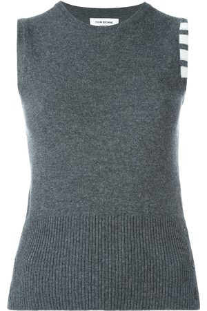 Thom Browne Sleeveless Crewneck Shell Top With 4-Bar Stripe In Dark Cashmere