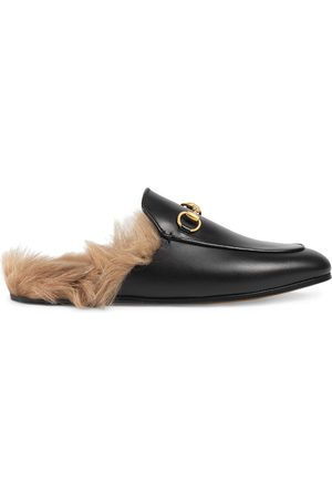 Gucci Princetown leather fur lined mules