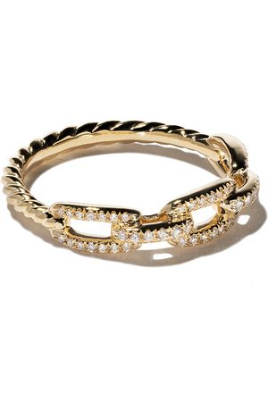 David Yurman Senhora Anéis - 18kt yellow gold Stax single row pavé diamond chain link ring