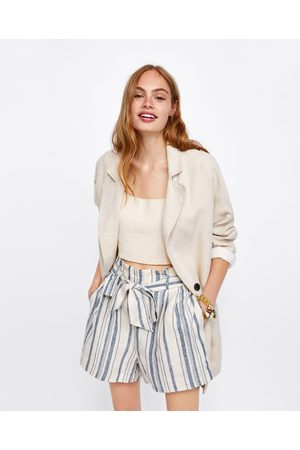 Zara STRIPED LINEN BERMUDA SHORTS