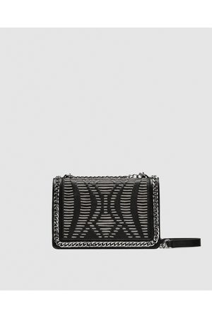 Zara LEATHER CROSSBODY BAG WITH CHAINS