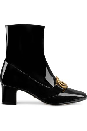 Gucci Mulher Botins - Patent leather ankle boot with Double G