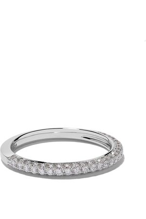 De Beers 18kt white gold DB Darling half pavé diamond band