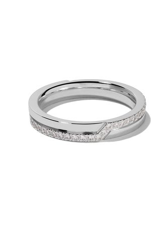 De Beers 18kt white gold Promise half pavé diamond band