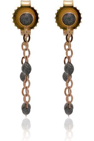 GIGI CLOZEAU 18k rose gold silver beaded earrings