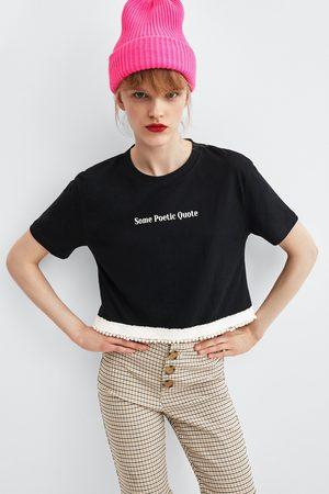 Zara T-SHIRT TEXTO PÉROLAS