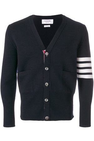 Thom Browne 4-Bar Stripe Milano Stitch Merino Cardigan
