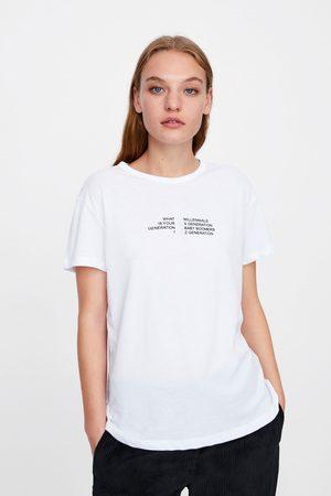 Zara T-shirts & Manga Curta - T-SHIRT COM TEXTO À FRENTE