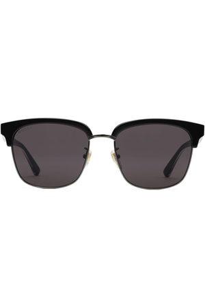 Gucci Homem Óculos de Sol - Rectangular-frame metal sunglasses