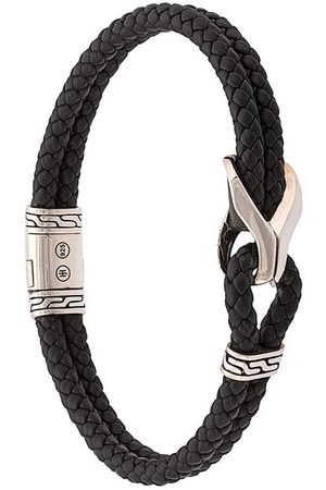 John Hardy Homem Pulseiras - Silver Classic Chain Woven Leather Bracelet with Station