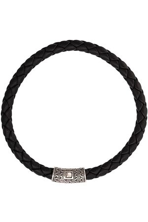 John Hardy Silver Classic Chain Round Woven Leather Bracelet