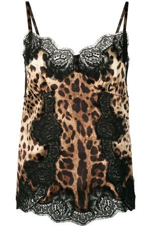 Dolce & Gabbana Senhora Tops de Cavas - Lace-detail leopard-print satin top