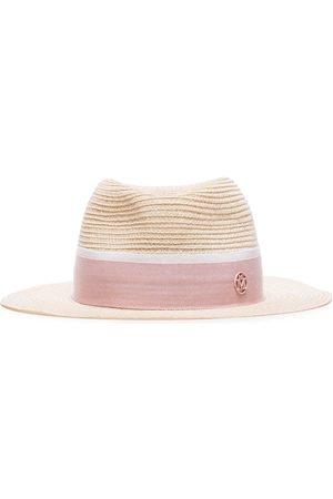 Maison Michel Pink logo embellished straw hat
