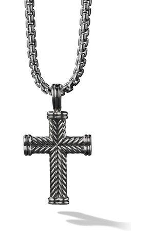 David Yurman Homem Colares - Silver Chevron Cross Enhancer pendant