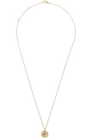 David Yurman 18kt yellow gold Cable Collectibles diamond and sapphire evil eye charm necklace