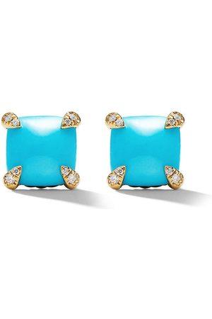 David Yurman 18kt yellow gold Châtelaine turquoise and diamond stud earrings