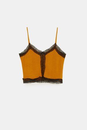Zara Tops & T-shirts - TOP COM ESTILO DE LINGERIE COM RENDA COMBINADA