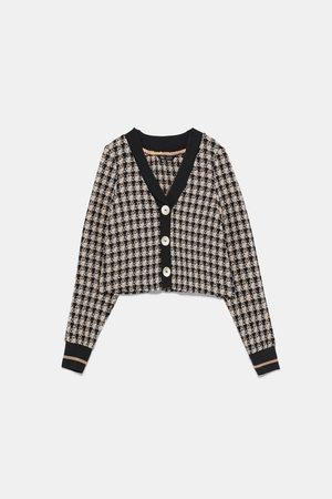 Zara Blusa de tweed com botões