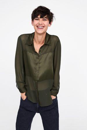 Zara Camisa com faixa acetinada
