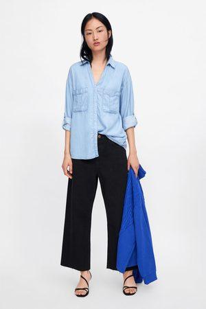 Zara Camisa denim c/bolsos