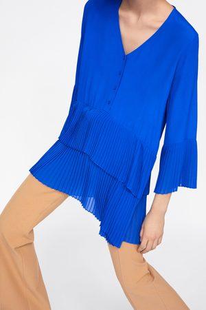Zara Senhora Formal - Blusa plissada combinada