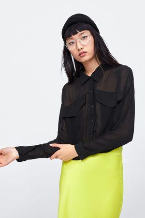 Zara Camisa curta semitransparente