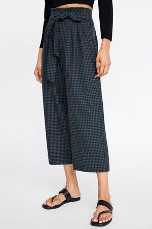 Zara Calças culottes xadrez com cinto