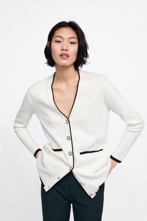 Zara Cardigan comprido com botão de pérola